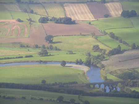 Aerial photo of the River Eden catchment at Eden Lacy, near Lazonby