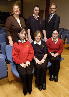 Prof Anne Garden and Prof Trevor McMillan with pupils from Walney School