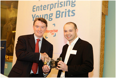 Lord Peter Mandelson presenting Antony with his award