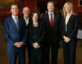 Left: Alan Milburn MP, Professor Cary Cooper, Professor Susan Cartwright, Vice-Chancellor Professor Paul Wellings and Therese Procter, Personnel Director Tesco plc.