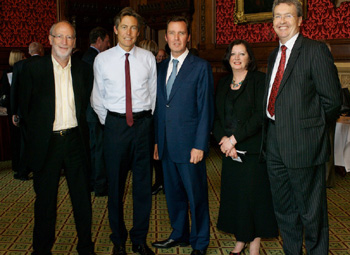 Minister for health Ben Bradshaw with ( left) Professor Cary Cooper, Alan Milburn MP, Professor Susan Cartwright and Vice Chancellor Professor Paul Wellings.