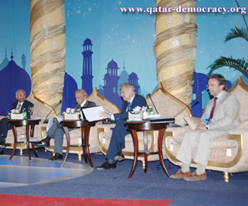 (Far Right) Professor Nonneman on the panel discussion at the Doha Conference