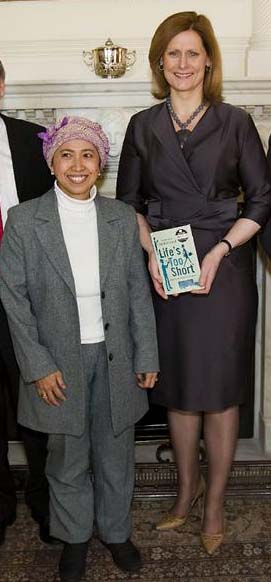 Esti Mardiani-Euers with Sarah Brown at 10 Downing St