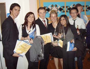 : from left: Chris Smithson, Rachael Coates, Ben Barraclough, Mariana Mermet, Farzana Patel and Paul Wong celebrating at the award ceremony