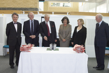 Prof. Michael Wheeler; Prof. Stephen Wildman; The Chancellor; The Hon. Dr. Elizabeth Robins (Chair, Ruskin Foundation); Jacqueline Whiteside (University Librarian); Sir Christopher Audland