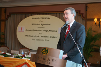 Vice Chancellor Professor Paul Wellings speaking at the signing ceremony at Sunway University College