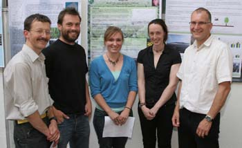PhD winners and judges(from left) Dr Oliver Wild, Dr Jos Barlow, Georgina Key, Alexandra Henderson and Dr John Quinton.