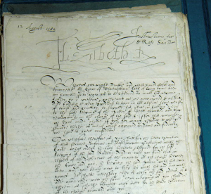 Manuscript referring to Mary Queen of Scots, signed by Queen Elizabeth I