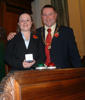 Student volunteer Lyndsey Sterrit and and Vice Chairman of Lancashire County Council, County Councilor Terry Burns.