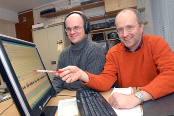 Dr Eivind Torgersen analysing speech recordings with Prof Paul Kerswill
