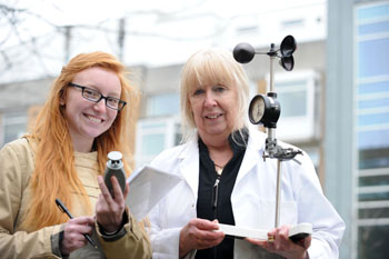 Blackpool Sixth Form College student Abigail Lovell with Christine Valentine, Environmental Science.