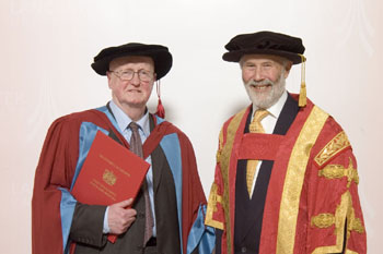 Philip French receiving his honorary degree from Sir Christian Bonington
