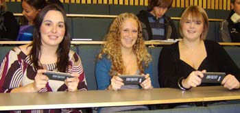 Students using the Radio Frequency Personal Response System in a lecture