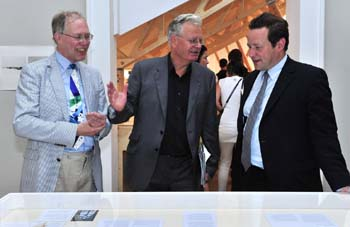 Prof Stephen Wildman (Director, Ruskin Library and Research Centre), Prof Robert Hewison and Ed Vaizey MP, Minister for Culture, in the Ruskin Wing of the Venice Architecture Biennale, 2010