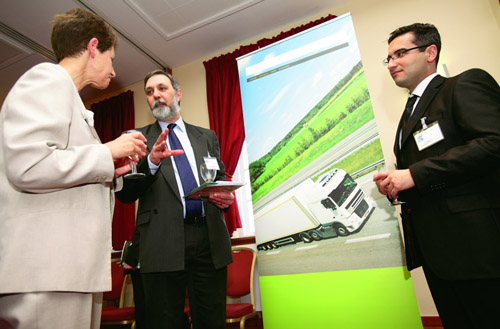 Green Logistics research cluster leader Professor Richard Eglese (Lancaster University), (centre) with Sue Merchant (President of the Operational Research Society) and Dr Tolga Bektas (University of S