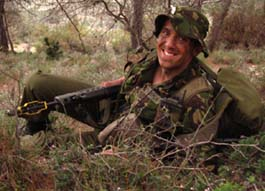 Andrew Nicklin on an army training exercise in Cyprus