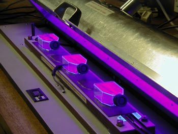 Skin cell cultures being exposed to UV light at Lancaster University
