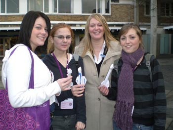 from left: Amy Tomlinson, Rebecca Steele, teacher Jill Bowes and Kathryn Thomason with their rockets