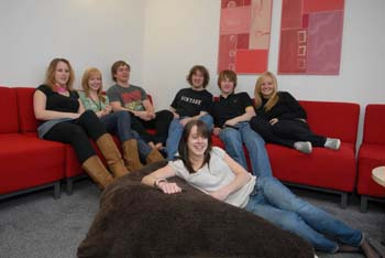 Students enjoying the open plan living space