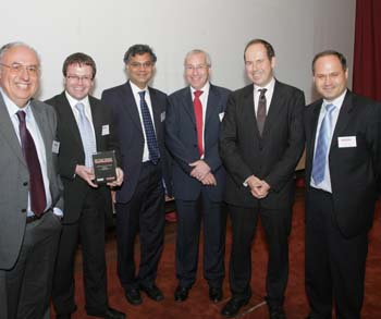 From left: Prof Xydeas, Darren Ansell (BAE Systems), Dr Venkat Sastry (Cranfield), David Wright (BERR), Rory Cellan-Jones (BBC), Dr Angelov