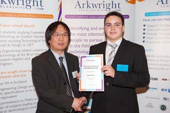 Glen Norris receives his award from Dr Xiandong Ma of Lancaster University