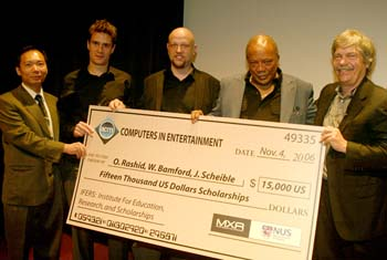 left to right:Newton Lee, Will Bamford, Jurgen Scheible, Quincy Jones and Dr Alan Kay.