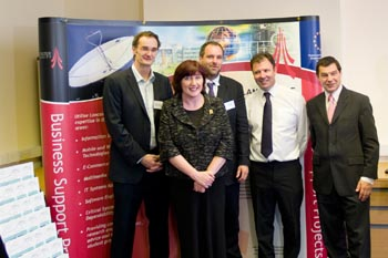 Dr Gerd Kortuem, Geraldine Smith MP, Prof Nigel Davies, the MD of In Touch John Walden, Nigel Griffiths MP.