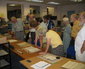 Dr Angus Winchester (far left) at a Manorial Documents workshop held in Barrow-in-Furness earlier this year