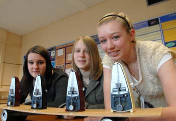 left to right: Pupils Katie Egan, Megan Williams and Alex Astin at a demonstration for the medical physics open day