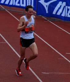 Michael Aspinall finishing the Amsterdam marathon last year in 2 hours 23 minutes