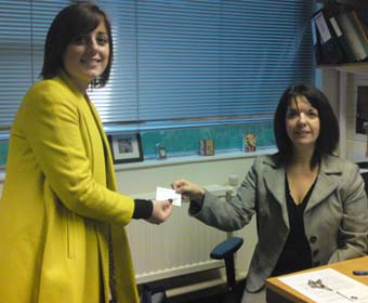 LUYES president Lauren Dalton-Jarvis trades her paperclip with Louise Briggs from LUMS