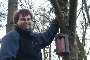Richard Du Feu who helped install the webcam inside the birdbox on campus