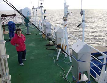Dr Rosalinda Gioia aboard a research vessel off the coast of west Africa