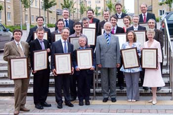 Staff received their prizes for excellent work from the Chancellor, Sir Christian Bonington
