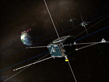 An artist's impression of the five THEMIS spacecraft orbiting the Earth (credit: NASA)