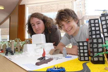 Chris Abell and Jamie Brook with their model of evolution