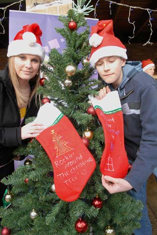 Lorna Shylock from Heysham High and Thomas Hale from Skerton High at the Xmas Fair